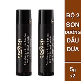 Combo 2 son dưỡng môi dầu dừa Bên Tre cocoon 5g