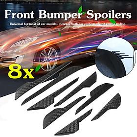 8pcs Carbon Fiber Front Bumper Lip Splitter Fins Body Spoiler Canards Refit Trim