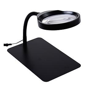 Kính lúp để bàn cao cấp có đèn siêu sáng 10X hỗ trợ sửa chữa, đọc sách báo ( Tặng 01 tô vít mini )