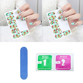 Bộ sticker dán móng tay 3D họa tiết (Kèm dũa và khăn)