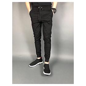 Quần jogger kaki đen zip chân màu đen