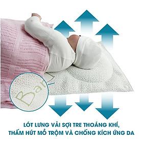 Gối lõm chống bẹt đầu cho bé sơ sinh kiêm kê tay cho bé bú - Air mesh siêu Bamboo siêu thoáng kháng khuẩn Comfybaby- N04