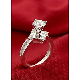 Hình đại diện sản phẩm Nhẫn nữ ổ cao bốn chấu gắn đá kim cương nhân tao bạc 925 không xi mạ trang sức Bạc QTJ - BQTJ26-44(BẠC)