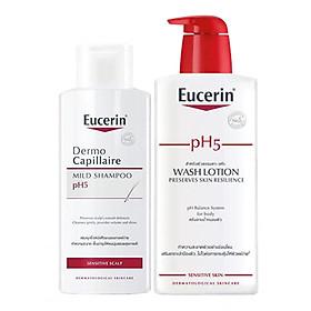 Bộ Dầu Gội Cho Da Nhạy Cảm Eucerin pH 5 Shampoo (250ml) Và Sữa Tắm Dành Cho Da Nhạy Cảm Eucerin pH 5 Washlotion Có Mùi (400ml)