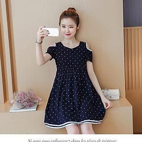 Váy Bầu Chấm Bi Hở Vai Xanh MYC_1231