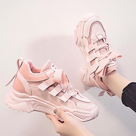 Giày Thể thao nữ dây bản to phong cách hàn quốc đế độn 5 phân siêu êm chân