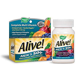 Nature's Way Alive! Men's 50+ Energy Multivitamin Tablets, Fruit and Veggie Blend, 50 Tablets