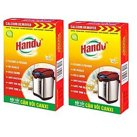 Bộ 2 hộp 4 gói tẩy cặn canxi cây nước, ấm đun nước, bình nóng lạnh Hando