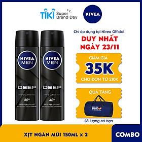 Bộ đôi Xịt ngăn mùi NIVEA MEN Deep than đen hoạt tính (150ml x2) - 80027