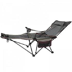 Ghế gấp du lịch có để chân, giường gấp thư giãn, dã ngoại, giường ngủ văn phòng M50357, chất liệu vải dù, khung kim loại chắc chắn
