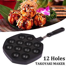 12 Holes Takoyaki Pan Octopus Ball Maker Snacks Baking Nonstick Tray Grill Mold