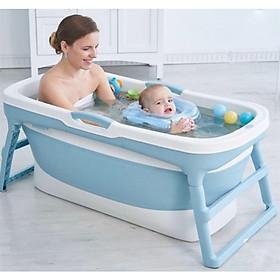 Bồn tắm gấp gọn dành cho người lớn chất liệu nhựa PP và Silicon, có thể làm bể bơi, bồn tắm cho trẻ em + Tặng kèm 1 kệ để đồ nhà tắm đa năng