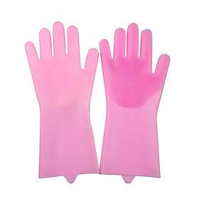 Găng tay rửa chén cách nhiệt silicon Màu hồng