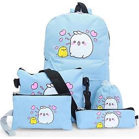 Bộ 5 món gồm balo đi học + túi đeo chéo nữ + ví nữ + hộp bút + ví rút (Xanh Trời) (40 x 30 x 15cm)
