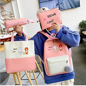 Balo nữ combo 4 món đi học thời trang Cặp- Balo sinh viên học sinh đa năng Gấu và thỏ - Munnini