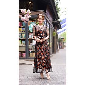 Váy Trung Niên - Đầm Quý Bà thiết kế chất thun lụa sữa - thu đông dày dặn cao cấp/Váy cho mẹ - người già (Mã 541)