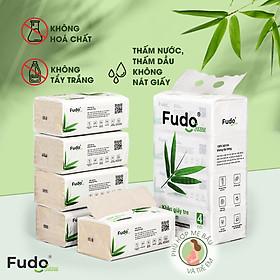 Khăn giấy tre Fudo - Combo 8 Gói Giấy Ăn (2 lốc): 100% bột tre, không tạo mùi, không tẩy trắng, siêu mềm, siêu mịn, siêu dai