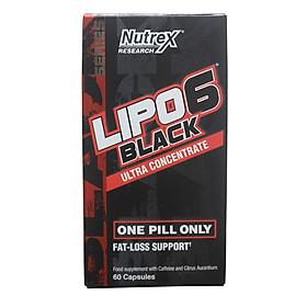 Thực phẩm bổ sung LIPO 6 BLACK của Nutrex hộp 60 viên hỗ trợ đốt mỡ, giảm cân mạnh mẽ, tăng tỉnh táo tập trung cho người tập GYM và chơi thể thao
