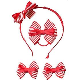 Hộp Cài Kẹp Cột Tóc Nơ Sọc Đỏ Latin Handmade LTK004