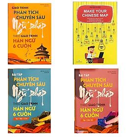 Combo 4 sách: Giáo trình phân tích chuyên sâu Ngữ Pháp theo Giáo trình Hán ngữ 6 cuốn + Bài tập tập 1 (Hán 1-2-3-4) + Bài tập tập 2 (Hán 5-6) và Make your Chinese map Bản đồ tư duy từ vựng Tiếng Trung theo chủ đề +DVD tài liệu+ DVD tài liệu