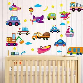 Decal dán tường phương tiện giao thông ngộ nghĩnh cho bé XL2008