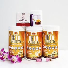 Combo 3 hộp Keto Collagen 500g [Chính Hãng] - Bữa ăn Keto hỗ trợ GIẢM CÂN SIÊU TIỆN LỢI cho người thực hành Keto và người muốn giảm cân - Giảm 3-7Kg/ 1 tháng [Tặng 1 hộp Sữa hỗ trợ giảm cân tiêu chuẩn châu Âu Hera Slimfit 100g, 1 hộp Mặt nạ Saffron sữa ong chúa và 1 Thước dây]