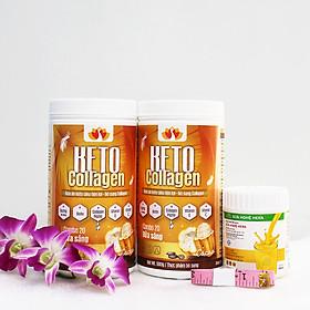 Liệu trình 2 hộp Keto Collagen 500g [Chính Hãng] - Bữa ăn Keto hỗ trợ GIẢM CÂN SIÊU TIỆN LỢI cho người thực hành Keto và người muốn giảm cân - Giảm 3-7Kg/ 1 tháng [Tặng 1 Sữa nghệ Hera 100g giúp giảm đau bao tử và 1 Thước dây]