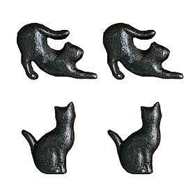 4pcs Retro Cat Design Furniture Door Knob Cast Iron Wardrobe Drawer Pulls