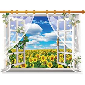 Decal dán tường nguyên miếng cửa sổ hoa mặt trời có rèm SK9020A