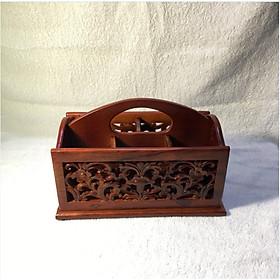 Gía cắm bút, giá để đồ văn phòng nhỏ bằng gỗ hương 5 ngăn siêu đẹp