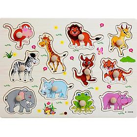 Đồ chơi bảng núm gỗ chủ đề động vật cho bé