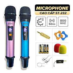 Micro không dây C.O.K ST-232 (2 Mic), Dành cho loa kéo & dàn âm ly, Jack 6.5, bắt âm tốt - Hàng chính hãng 100%