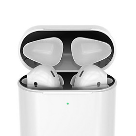 1 Pair Dust Guard For AirPods 2 / Pro, Metal Dustproof Protection Sticker Metallic Charging Case Protector Shell Skin Cover
