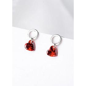 Bông tai Bạc S925 Red Heart - E286