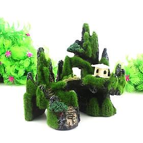 Mô hình hòn non bộ núi đá hang động cây cỏ 1 thiết bị phụ kiện bể cá trang trí nhà cửa lũa bể cá thủy sinh