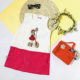 Đầm Bé Gái In Hình Cô Gái Và Cột Đèn YF - Cotton Phối Ren - Tùng Hai Màu Đỏ Và Hồng Thêu Chỉ Trằng Nổi Bật  ( Giao Màu Ngẫu Nhiên) - Size Từ 15 Đến 55 KG - 9DX564