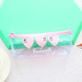 Hộp bút trong suốt Barbapapa hồng