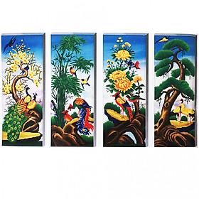 Bộ Tranh Tứ Quý Mai - Trúc - Cúc - Tùng (134 x 73 cm)