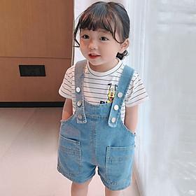 Quần yếm bò thời trang cho bé trai bé gái, style năng động khỏe khoắn, chất jean mềm thoáng, yếm dáng suông, túi vuông khỏe khoắn | MQ17