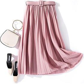 Chân váy xếp ly dáng dài có đai chất liệu cao cấp không nhăn mẫu mới Free size(VAY36)
