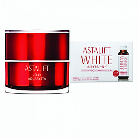 Bộ sản phẩm trẻ hóa làn da Astalift (Astalift Jelly Aquarysta +  Astalift Drink Pure Collagen 10,000mg)