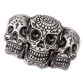 Punk Skull Belt Buckle Antique Silver 3D Skull Head Gothic Motorcycle Biker