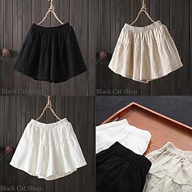 quần nữ đùi giả váy chất đũi 3 màu năng động