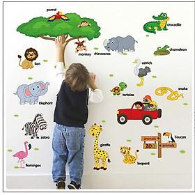 Decal dán tường Vườn thú tiếng anh AmyShop DB061 (75 x 118cm)