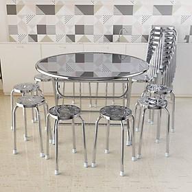 Bộ bàn ghế inox 304 gồm 1 bàn + 10 ghế inox