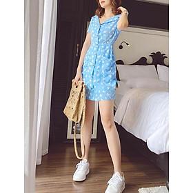 Đầm xanh hoa trắng nút gỗ Maru Dress Gem Clothing SP060252
