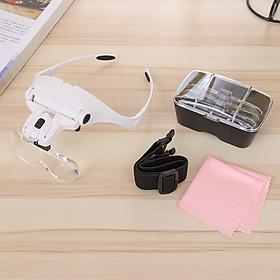 Kính lúp đeo mắt chuyên dụng sửa chữa đồng hồ, mạch điện tử, đọc sách, nối mi làm nail có đèn 9892B2 - Tặng kèm 01 laban vỏ bằng kim loại