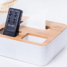 Hộp giấy nắp gỗ chia 3 ngăn - Đựng điều khiển