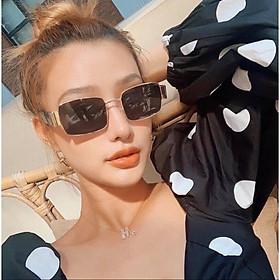 Kính râm, Kính mát Mắt vuông unisex chống nắng UV + tặng Tuavit Kính xinh mini