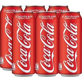 Lốc 6 Lon Nước Giải Khát Coca-Cola vị Nguyên Bản Original 320mlx6